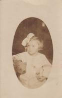 Child W Teddy Bear Real Photo Postcard 20s - Jeux Et Jouets