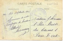 31-cachet Hôpital N°201 à St Gaudens Sur CP De 1916-sports D'hiver à Luchon - Marcophilie (Lettres)