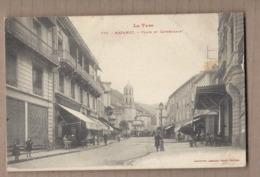 CPA 81 - MAZAMET - Place Et Cathédrale - TB PLAN CENTRE VILLE Jolie ANIMATION Terrasses Cafés + TB Oblitération Verso - Mazamet
