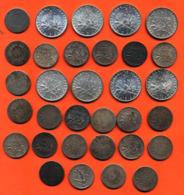 Lot De 32 Monnaies 50 Cts Et 1 Frs Argent Semeuse Diverses Années - 100 Grammes D'argent - Lot N°28 - France
