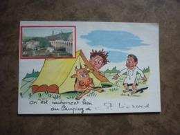 """9/26 CPA Humour Saint Léonard """"On Est Vachement Bien Au Camping"""" Collage - Saint Leonard De Noblat"""