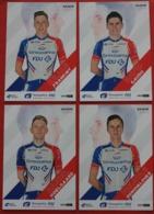 Cyclisme , Tour De France 2019, 4 Cartes Individuelles FDJ Groupama : Gaudu, Konovalovas,  Frankiny,  Hoelgaard - Cyclisme