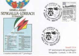 Italia 2016 30° Anniversario Gemellaggio Senigallia - Lorrach Annullo Cartolina - Covers