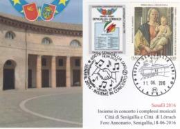Italia 2016 30° Anniversario Gemellaggio Senigallia - Lorrach Annullo Cartolina - Buste