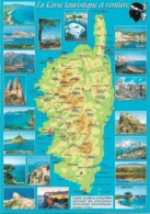 CARTES GÉOGRAPHIQUES - 20 LA CORSE - LA CORSE TOURISTIQUE ET ROUTIÈRE - 19 PETITES VUES - CPM - VIERGE - - Mapas