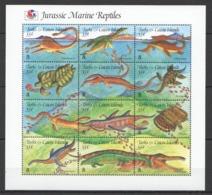 Y566 1995 TURKS & CAICOS IS. JURASSIC MARINE REPTILES DINOSAURS #1211-22 !!! MICHEL 11 EURO !!! SH MNH - Briefmarken
