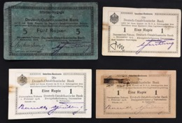 Africa Orientale Tedesca Deutsch-ostafrikanische Bank 5 Rupien 1915 + 1 Rupia 1915 - 1916 X 2 Tot 4 Biglietti Lotto.377 - Banconote