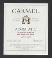 Etiquette De Vin De Table Rouge -  Carmel  - Richon Le Zion  (Israël)  - Thème Porteurs Grappe De Raisin - Labels