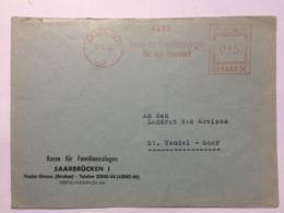 SAAR 1956 Cover Saarbrucken Meter Mark To St. Wendel - 1947-56 Protectorate