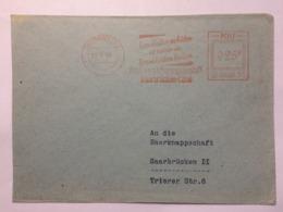 SAAR 1953 Cover Saarbrucken Meter Mark Internal - 1947-56 Protectorate