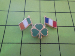 313d Pin's Pins / Beau Et Rare / THEME : SPORTS / RUGBY FRANCE IRLANDE TREFLE - Rugby