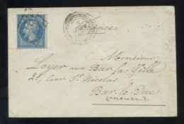 Envelop France 1862 Napoléon III Dentelé 20c Bleu No22. Avec Grille Et Corps Expéditionnaire D'Italie 1e Division - Marcofilie (Brieven)
