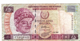 """CYPRUS (GREECE) 5 POUNDS 1997 F P-58  """"free Shipping Via Regular Air Mail (buyer Risk)"""" - Cyprus"""
