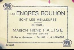 Buvard:  LA LOUVIERE. Maison René FALISE.  Les Encres BOUHON Sont Les Meilleurs. - Buvards, Protège-cahiers Illustrés