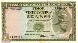 TIMOR 20 ESCUDOS 1967 PICK 26a AU/UNC - Timor