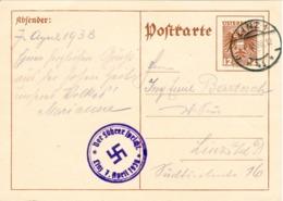 """III. Reich, Ostmark, Ganzsache 12 Groschen Mit Stempel """" Der Führer Spricht """" Linz / Donau 1938 - Briefe U. Dokumente"""