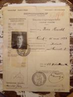 Documenten Harold Frere 1914-1919 Gent Doorgangsverlof W.O.I./ Documents Harold Frere 1914-1919 Laisser Passer W.O.I. - Documents Historiques