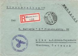 """III. Reich, Einschreibebrief """" Münster ( Westf. )1"""" Feldpost Luftgaupostamt Münster, Nach Linz / Donau - Briefe U. Dokumente"""