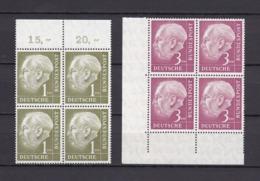BRD - 1954 - Michel Nr. 194+196 - Viererblock - OR,Ecke - 85 Euro - [7] Federal Republic