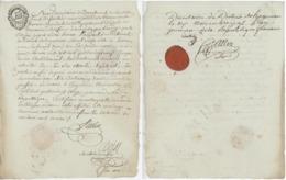 """Papier Timbré 1792 Saverne Dépendant Du Tribunal De Haguenau - Sceau """"fleur"""" & Cachet De Cire - Fiscaux"""