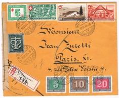 Lettre Recommandée  - Enveloppe - 1945 -  LE  NOIRMONT Pour PARIS - Croix Rouge - Belle  écriture - Timbres Suisse 1945 - Suisse