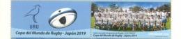 """Uruguay 2019 ** Sellos & Bandeleta IX Copa Mundial De Rugby En Japon. Equipo Uruguayo Los """"Teros"""" - Rugby"""