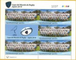 """Uruguay 2019 ** MP 5 Sellos & Bandeleta IX Copa Mundial De Rugby En Japon. Equipo Uruguayo Los """"Teros"""" - Rugby"""