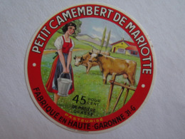 Etiquette De Fromage Camembert De Mariotte 31 Haute Garonne 31-G - Kaas