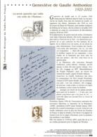 DOCUMENT FDC 2003 GENEVIEVE DE GAULLE ANTHONIOZ - Documents De La Poste