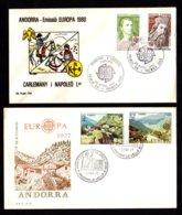 ANDORRA ANDORRE Lot 2 FDC EUROPA : 1977 Bureau Espagnol + 1980 Bureau Français Napoléon Charlemagne  2 Scan - FDC