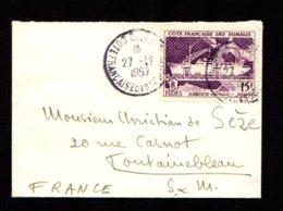 Côte Des Somalis Sur Mignonette Au Tarif 15F FIDES Oblit. DJIBOUTI 27-12-1957  TTB - Côte Française Des Somalis (1894-1967)