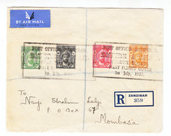 Zanzibar REGISTERED FIRST FLIGHT COVER 1937 - Zanzibar (...-1963)
