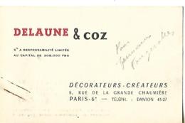 Carte Commerciale (10.5 X 6.5cm) / 75 PARIS / DELAUNE & COZ / Décorateurs-créateurs - Cartoncini Da Visita