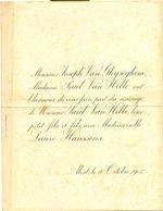 Huwelijksafkondigingen - Annonces De Mariage 1903  Familie Van Hille - Van Ghijseghem - Hanssens Te Alost En Grammont - Boda