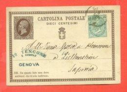 INTERI POSTALI- C1  -DA GENOVA PER IL LICTHENSTEIN-  DESTINAZIO RARA - 1861-78 Victor Emmanuel II.