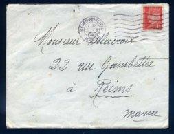514 Pétain Seul Tarif 1F 1er Jour Du Tarif à 1.50F Non Taxé Flamme Reims Principal Marne 5 1 1942 Pour Reims - Marcofilia (sobres)