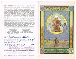 Antwerpen: 1945, Inschrijvingsbewijs Lid 'Franciscaanse Missiebond' ( 2 Scans) - Devotieprenten