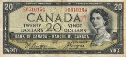 Canada 20 Dollars, P-70b (1954) - Devil's Face - Very Fine - Canada