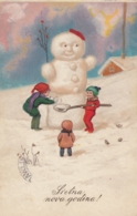 Snowman Bonhomme De Neige Schneemann Children Old Postcard 1930 - New Year