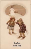 Snowman Bonhomme De Neige Schneemann Children Old Postcard 1920s - Neujahr