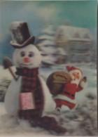 Snowman Bonhomme De Neige Schneemann & Santa Claus 3 D Postcard 1969 - Anno Nuovo
