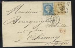 Lettre France 1863-70 Napoléon III Lauré Dentelé-10c+20c Bistre-no28b + No29b-de Charleville (GC 898) à Chimay Belgique - 1849-1876: Période Classique