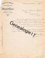 03 0503 0YZEURE ALLIER 1908 Representation Commerciale DEROUBAIX Chemin Du Parc D' Artillerie à CHEVRIER De CERCY LA TOU - Francia