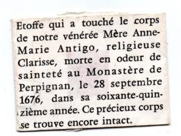 Relique Perpignan Etoffe Mère Anne Marie Antigo - Religión & Esoterismo