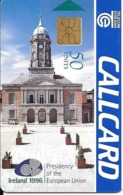 CARTE-PUCE-IRELANDE-50U-GEMA-PRESIDENCE EUROPE 1996-TBE - Irlande
