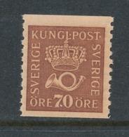Sweden 1922 Facit # 164 70 öre. Crown And Posthorn, MNH (**) - Nuevos