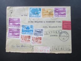 Rumänien 1970 Luftpost / Avion Freimarken Post U. Verkehrswesen MiF 9 Marken Einschreiben / Durch Eilboten Expres - Aéreo
