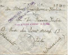 Ibiza (Baleares) A Francia 1938,al Dorso Llegada. Censura. Heller I 7.1 Guerre D'Espagne Ver 2 Scan - Nationalistische Zensur