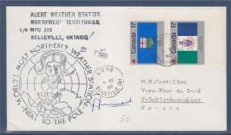 = Canada Belleville Ontario 7.6.80  Station D'alerte Météo, Près Du Pôle, Signature Sur Recto, 2 Timbres Canada - Polar Philately