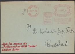 DR. Freistempel, 'Grosse Deutsche Funkausstellung'. BERLIN Charlottenburg 9, 25.7.1929. Front Cover / Briefstück! - Allemagne